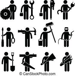 pictog, lavoro, lavoratore costruzione, icona