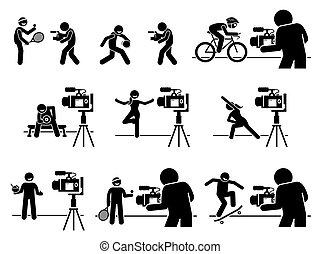 pictogram., influencers, idoneità, dieta, media, sport, contenuto, creatore, internet, video, sociale