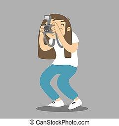 picture., macchina fotografica., presa, vettore, fotografo, cartone animato, donna