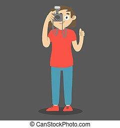 picture., vettore, cartone animato, pollice, button., carattere, presa, fotografo, macchina fotografica, spinta