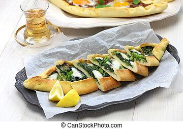 pide, pizza, spinacio, turco