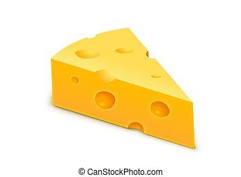 piece., icona, formaggio, fetta, vettore, svizzero, cheese., isolato, blocco, realistico, giallo, cheddar, triangolo