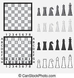 pieces., scacchiera, scacchi
