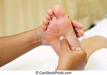 piede, reflexology, massaggio, terme