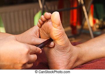 piede, reflexology, massaggio, trattamento, tailandia, terme