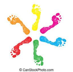 piede stampa, colorito
