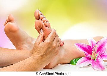 piede, terme, terapeuta, massaggio