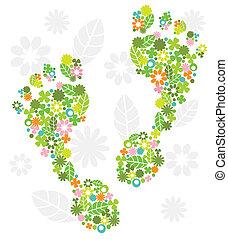 piedi, fiori, verde, fatto