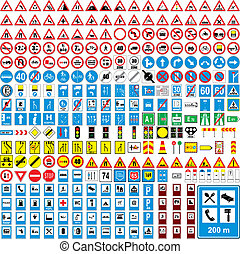pienamente, europeo, traffico, vettore, editable, tre, cento, segni