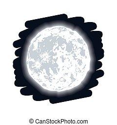 pieno, fase, luna