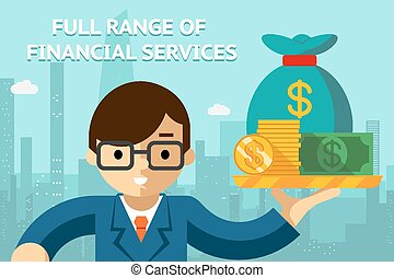 pieno, finanziario, serie, servizi, uomo affari, vassoio