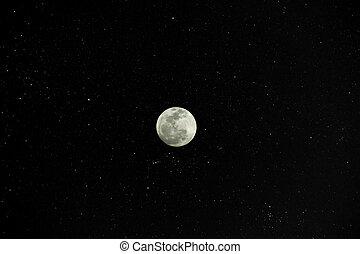 pieno, fondo., stelle, luna