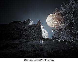 pieno, medievale, infrarosso, notte, castello, luna