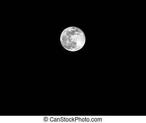pieno, nero, luna, stelle, cielo, senza