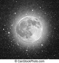 pieno, nero, stelle, luna