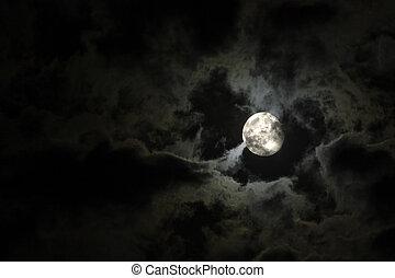 pieno, nubi, misterioso, cielo, contro, luna, nero, notte, bianco