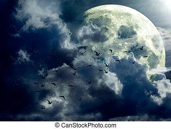 pieno, paesaggio, luna