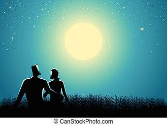 pieno, seduta, coppia, osservare, luna, erba