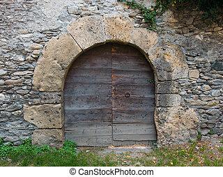 pietra, antico, porta, medievale, parete, arched