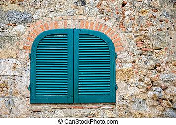 pietra, antico, tuscan azzurrano, parete, otturatori