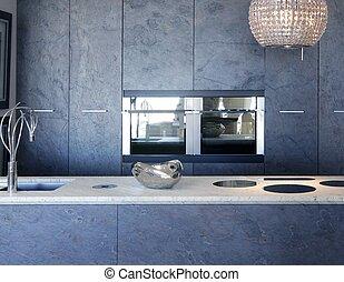 pietra, ardesia, panca, forniture, marmo bianco, cucina