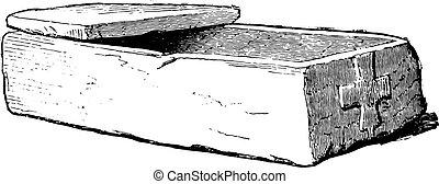 pietra, bara, gallo-roman, engraving., vendemmia