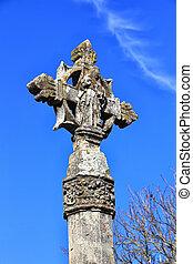 pietra blu, cristiano, cielo, croce, fondo