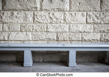 pietra blu, semplice, panca, parete, sabbia, legno, fronte