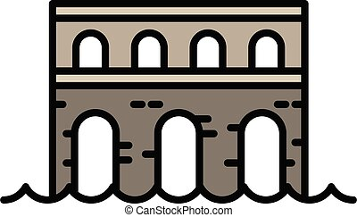 pietra, contorno, ponte, icona, stile