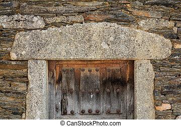 pietra, cornice porta, legno, vendemmia, facciata, granito