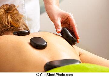 pietra, donna, bellezza, prendere, caldo, terapia, terme, salon., massaggio