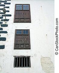 pietra legno, casa, shuttered, tenerife, dettaglio, tradizionale, windows, parete, bianco, spagna