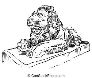 pietra, leone, vettore, 2