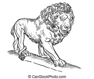 pietra, leone, vettore, 4