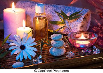 pietra, olio, ghiaccio, terme, candela, bambù