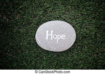 pietra, parola, hope., verde, dire bugie, erba, speranza