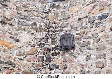 pietra, porta, parete, campo, fondo, vecchio, legno