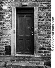 pietra, porta, parete, paintwork, elevato, ammaccato, nero, sbiadito, vecchio, cornice, gradino davanti alla porta