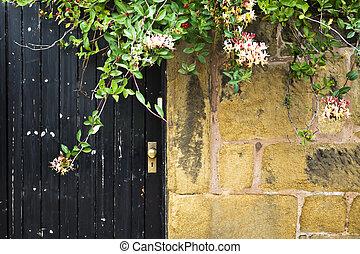 pietra, porta, parete, vendemmia, vecchio, fiori