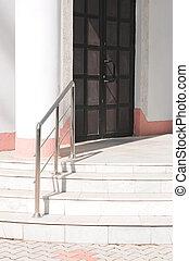 pietra, porta, scala, condurre, metallo, sbarre, mano, fronte, bianco