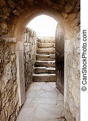 pietra, raggi, porta, parete, luce, dietro, aperto