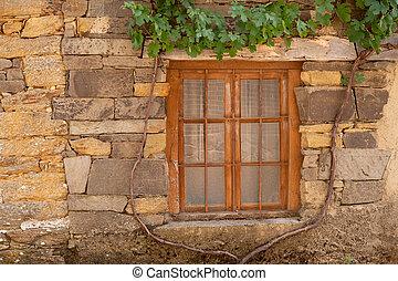 pietra, supporto conico, legno, vite, finestra, facciata