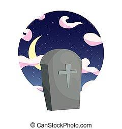 pietra tombale, cielo notte, luna