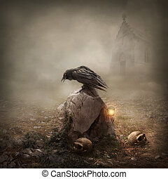 pietra tombale, corvo, seduta