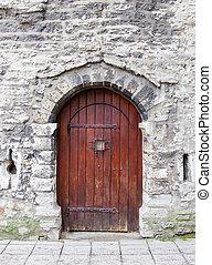 pietra, vecchio, arched, legno, wall., porta