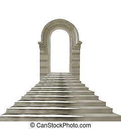 pietra, vecchio, arco, isolato, concreto, fondo, bianco, scale