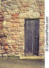 pietra, vecchio, legno, vendemmia, parete, porta