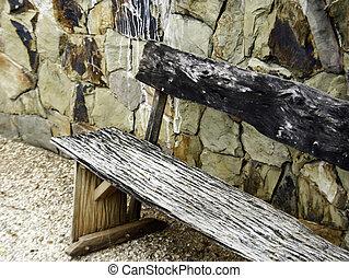 pietra, vecchio, panca legno, parete, fronte
