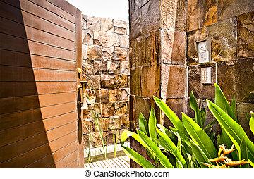 pietra, vecchio, parete, entrata, porta legno