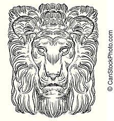 pietra, vettore, leone